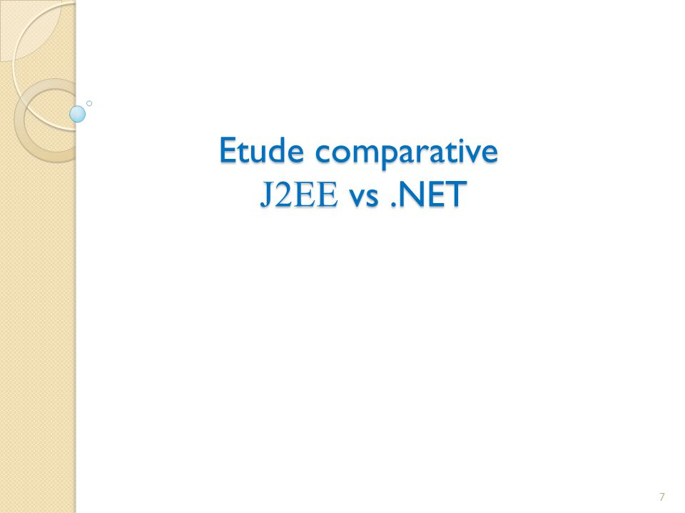 Etude comparative J2EE vs .NET