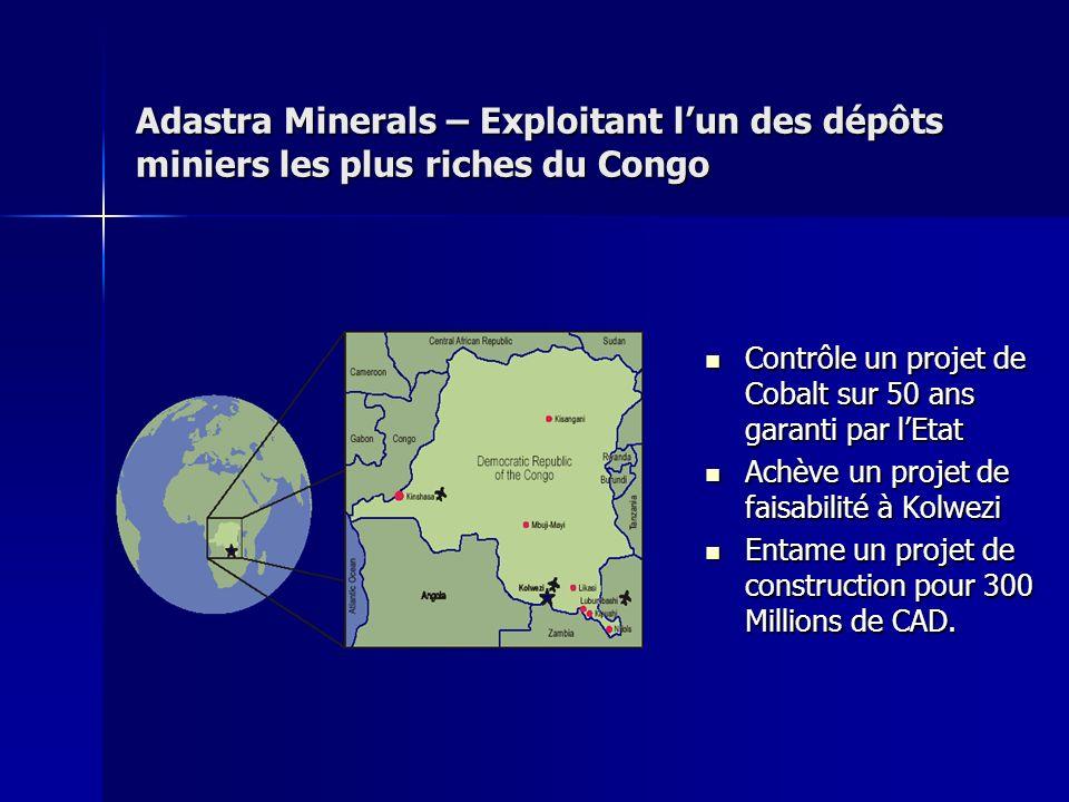 Adastra Minerals – Exploitant l'un des dépôts miniers les plus riches du Congo