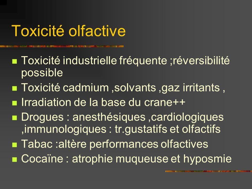 Toxicité olfactiveToxicité industrielle fréquente ;réversibilité possible. Toxicité cadmium ,solvants ,gaz irritants ,