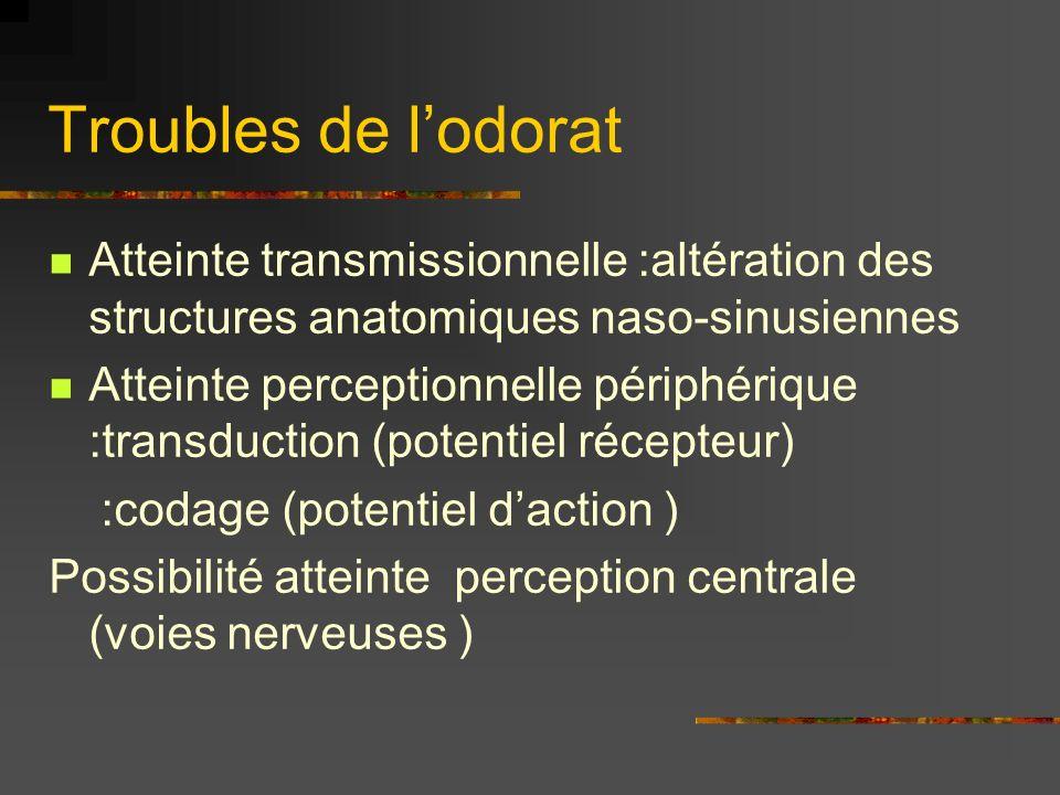 Troubles de l'odorat Atteinte transmissionnelle :altération des structures anatomiques naso-sinusiennes.
