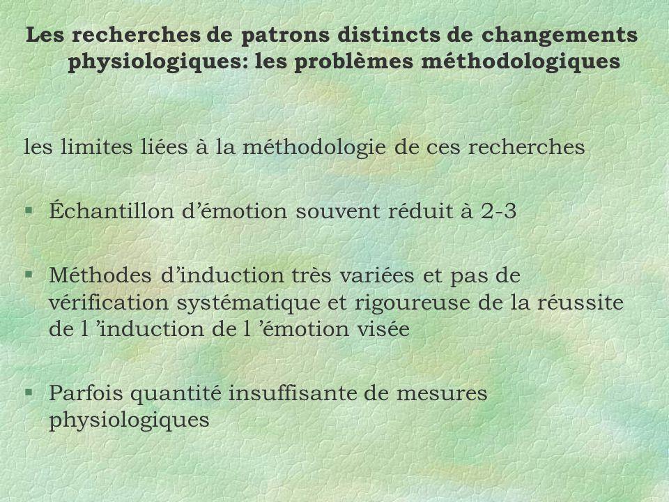 Les recherches de patrons distincts de changements physiologiques: les problèmes méthodologiques