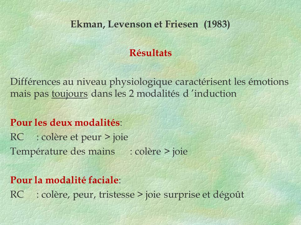 Ekman, Levenson et Friesen (1983)