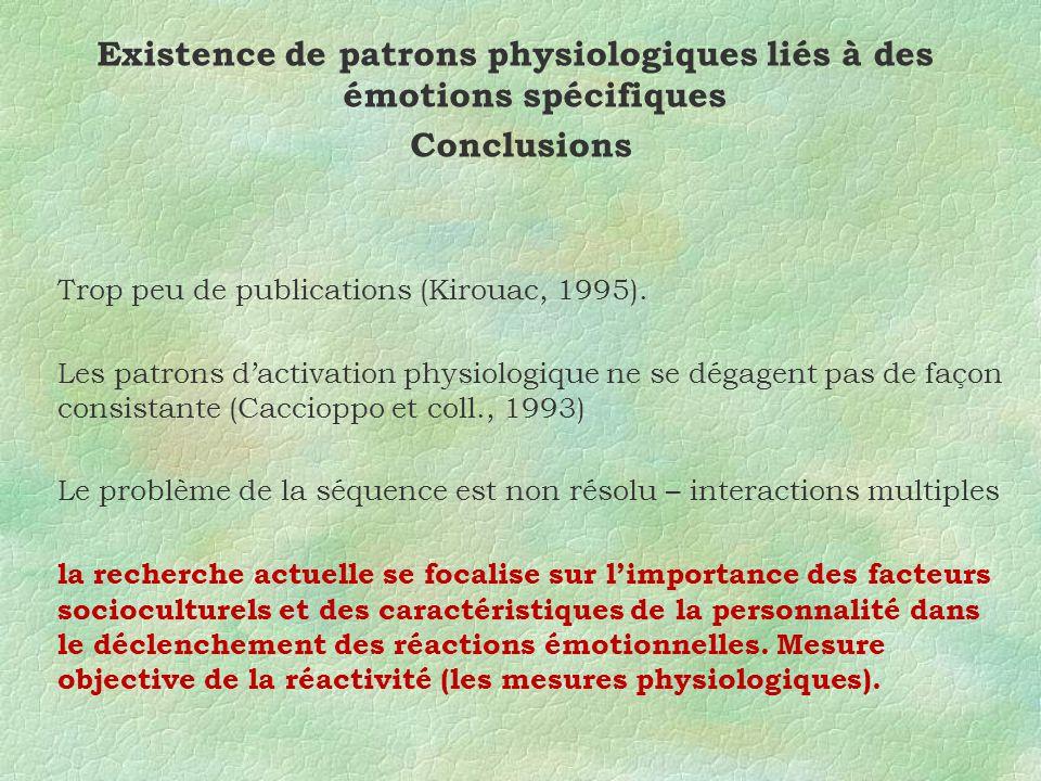 Existence de patrons physiologiques liés à des émotions spécifiques