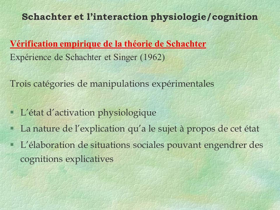 Schachter et l'interaction physiologie/cognition