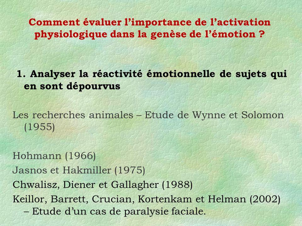 Comment évaluer l'importance de l'activation physiologique dans la genèse de l'émotion