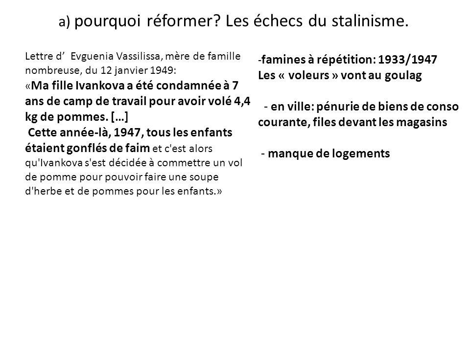 a) pourquoi réformer Les échecs du stalinisme.