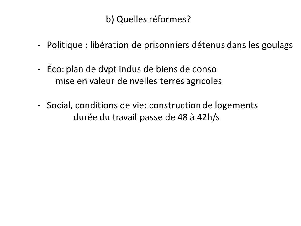 b) Quelles réformes Politique : libération de prisonniers détenus dans les goulags. Éco: plan de dvpt indus de biens de conso.