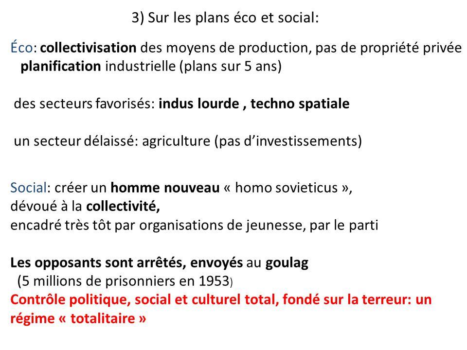 3) Sur les plans éco et social: