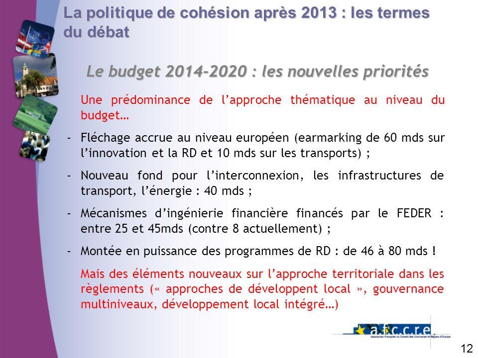 Le budget 2014-2020 : les nouvelles priorités
