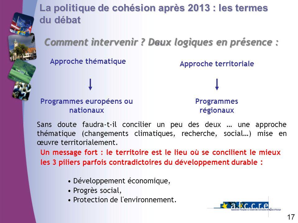 Approche territoriale Programmes européens ou nationaux