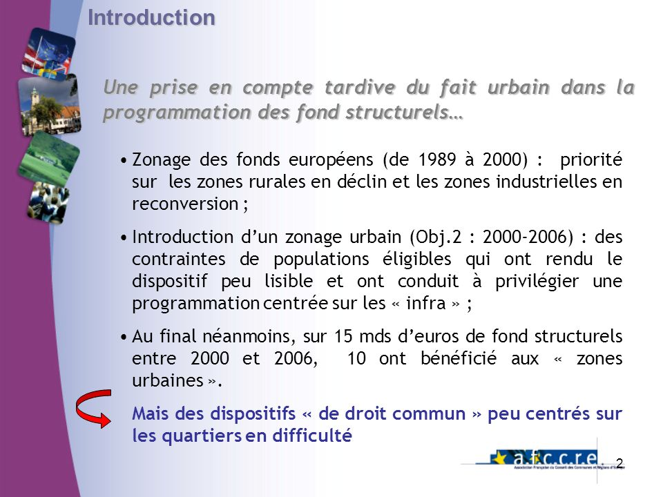 Introduction Une prise en compte tardive du fait urbain dans la programmation des fond structurels…