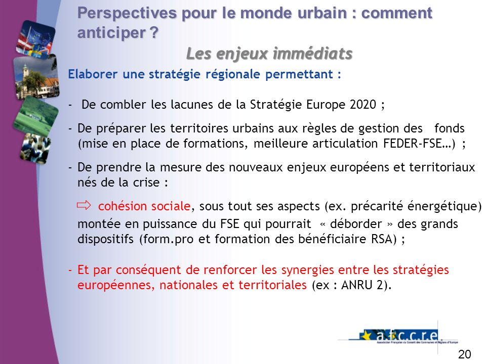 Perspectives pour le monde urbain : comment anticiper