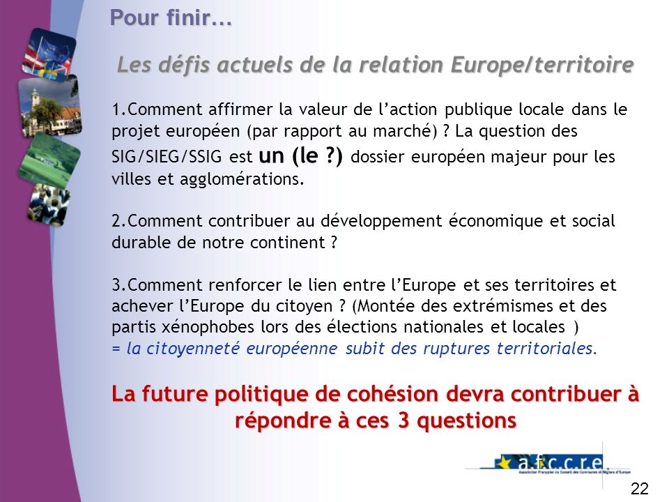 Les défis actuels de la relation Europe/territoire