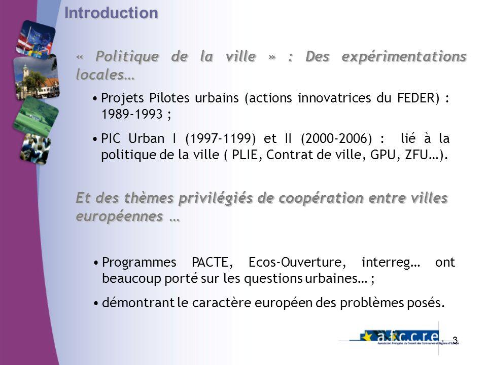 Introduction « Politique de la ville » : Des expérimentations locales…