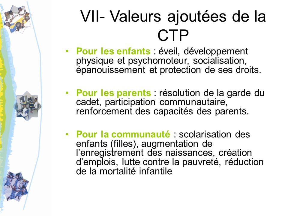 VII- Valeurs ajoutées de la CTP