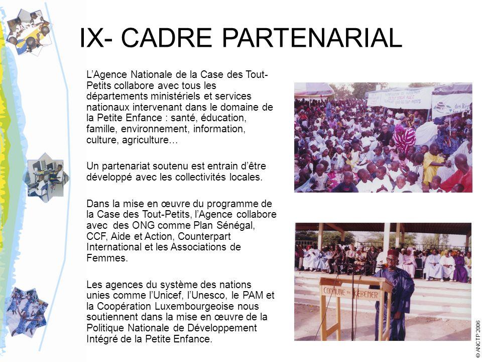 IX- CADRE PARTENARIAL