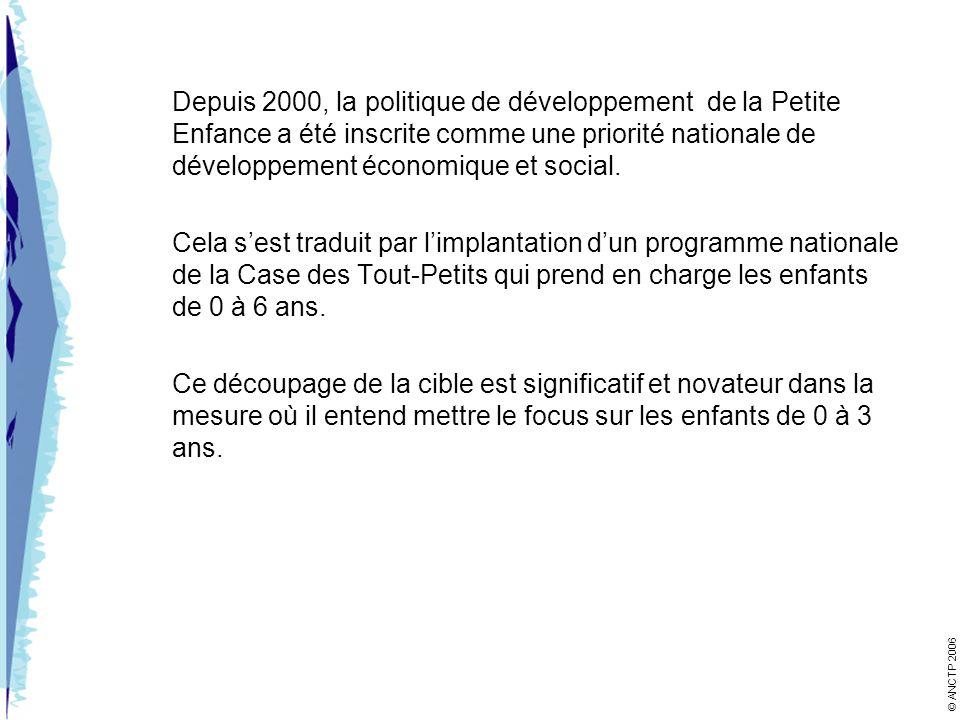 Depuis 2000, la politique de développement de la Petite Enfance a été inscrite comme une priorité nationale de développement économique et social.