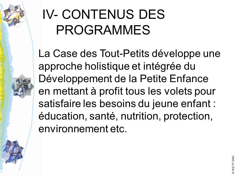 IV- CONTENUS DES PROGRAMMES