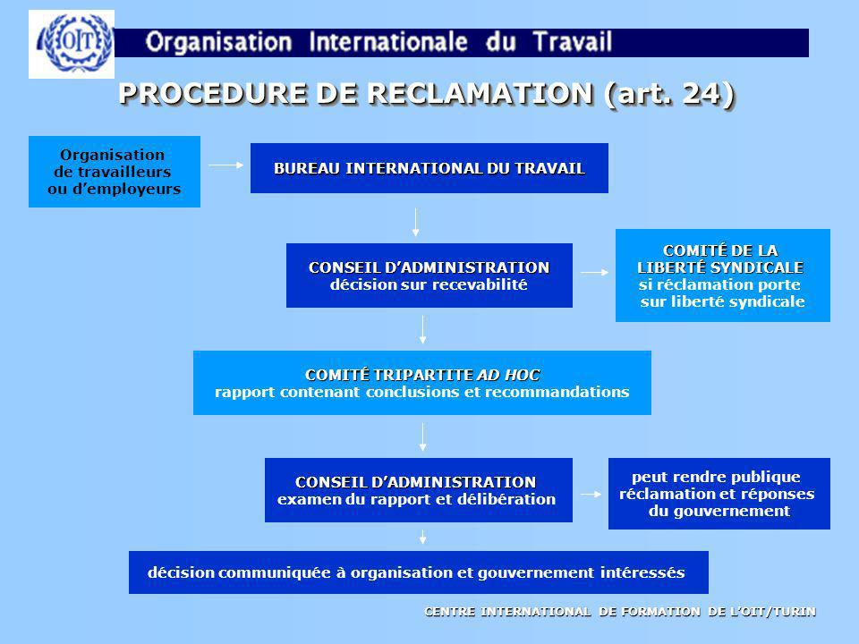 PROCEDURE DE RECLAMATION (art. 24)
