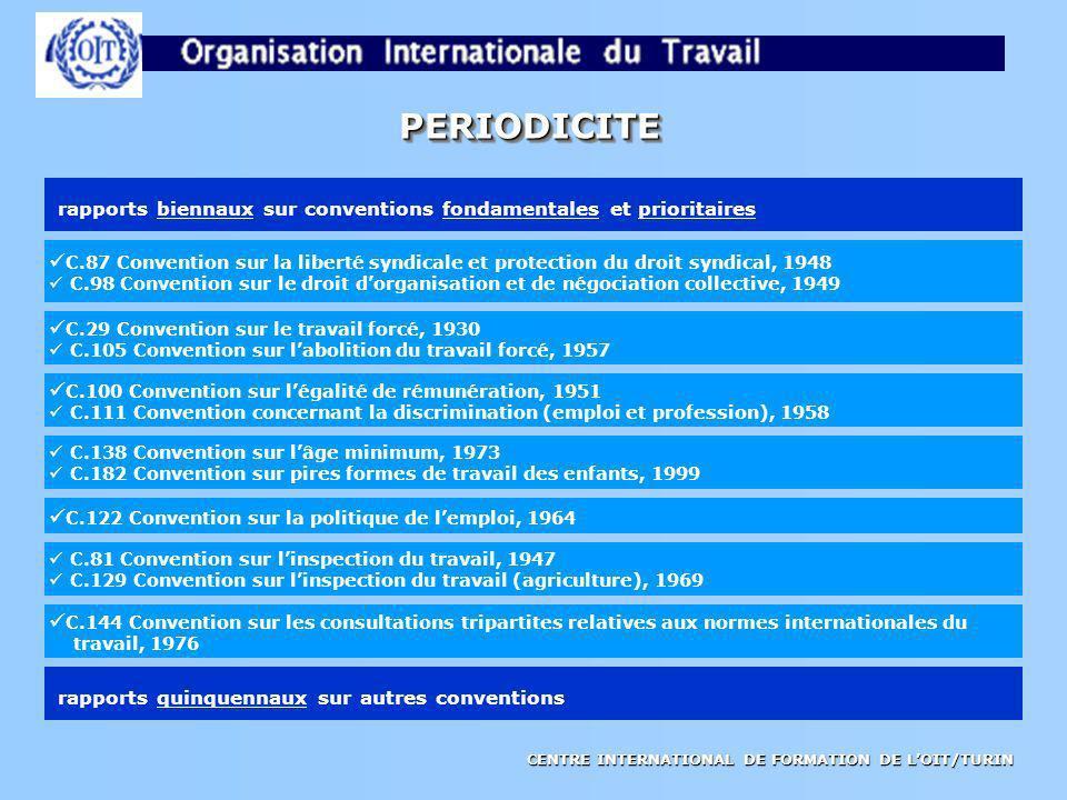 PERIODICITE rapports biennaux sur conventions fondamentales et prioritaires.