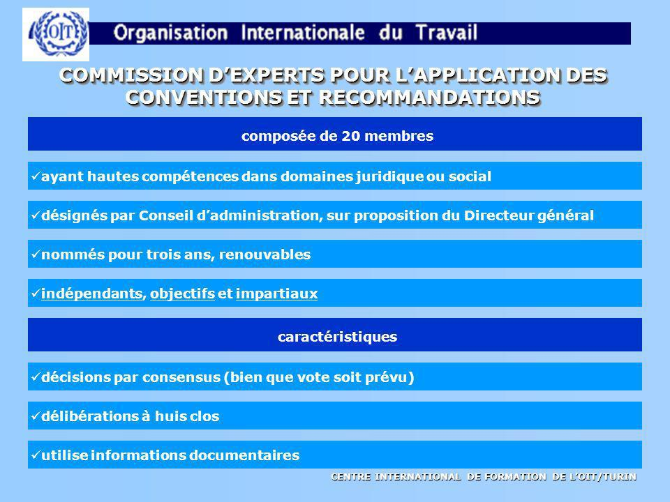 COMMISSION D'EXPERTS POUR L'APPLICATION DES
