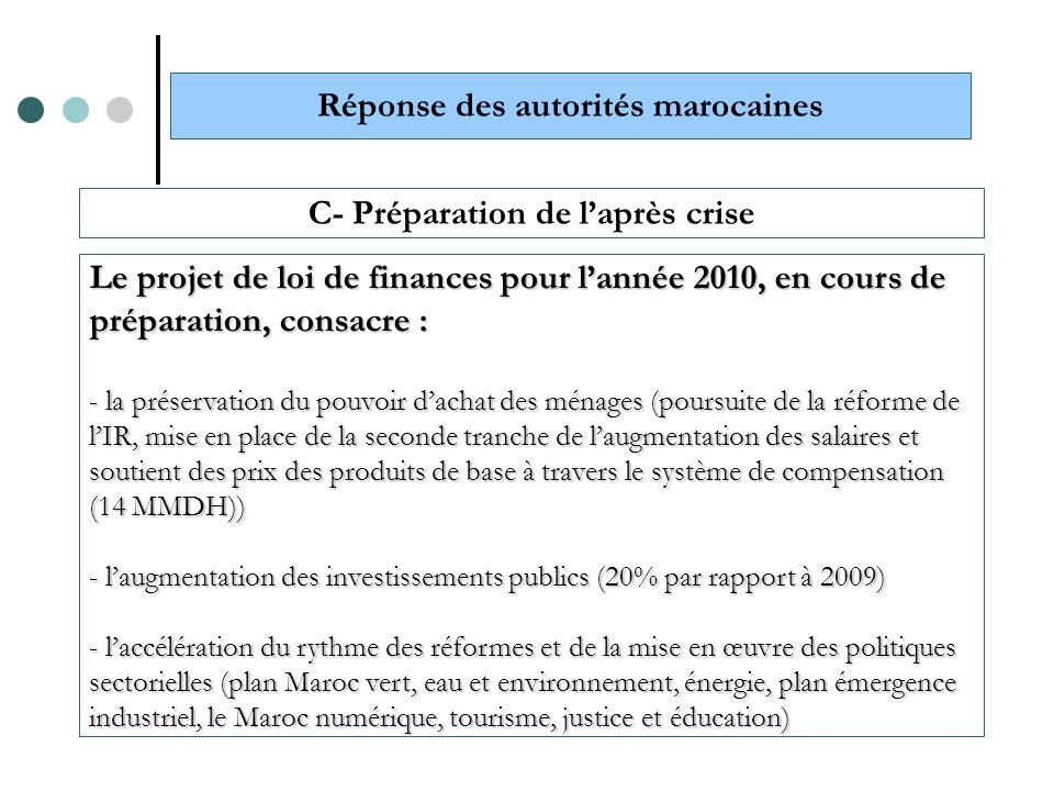 Réponse des autorités marocaines C- Préparation de l'après crise