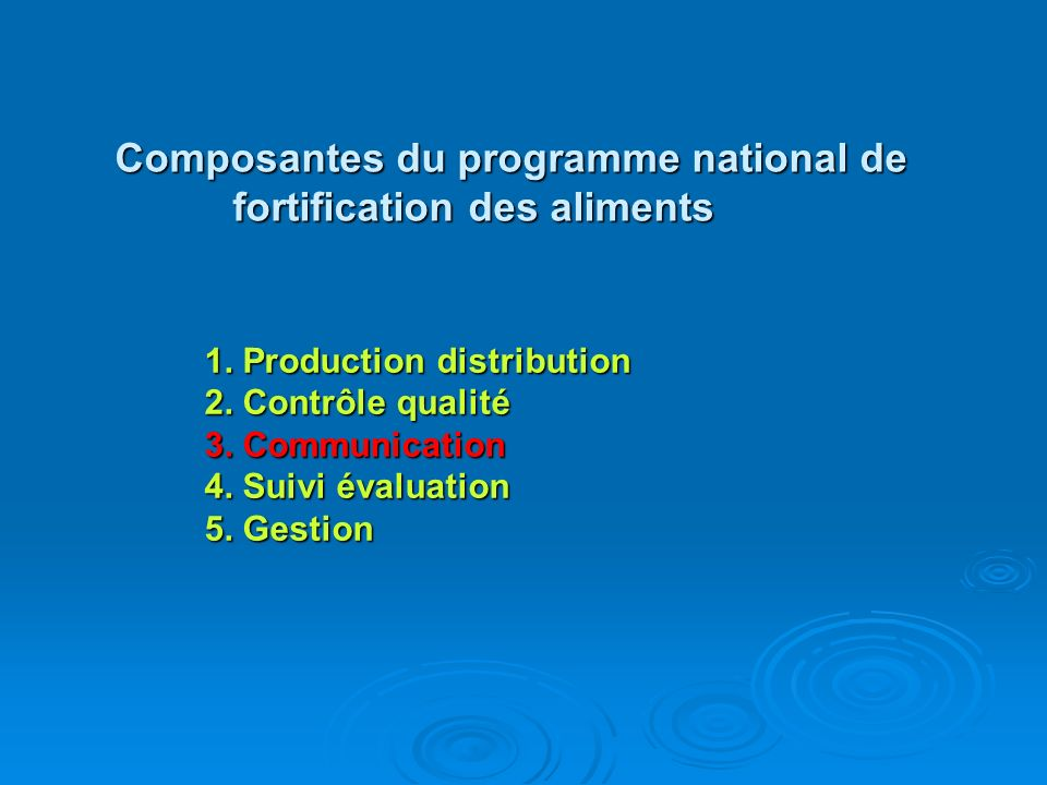 Composantes du programme national de fortification des aliments