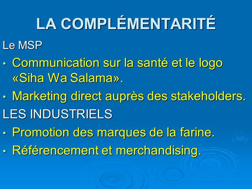 LA COMPLÉMENTARITÉLe MSP. Communication sur la santé et le logo «Siha Wa Salama». Marketing direct auprès des stakeholders.