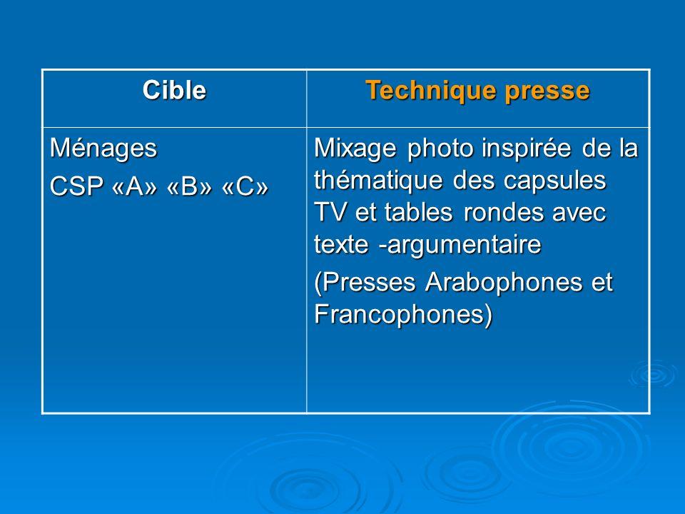 CibleTechnique presse. Ménages. CSP «A» «B» «C» Mixage photo inspirée de la thématique des capsules TV et tables rondes avec texte -argumentaire.