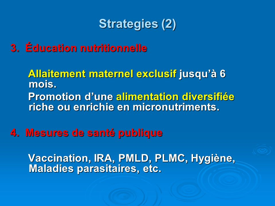 Strategies (2) 3. Éducation nutritionnelle