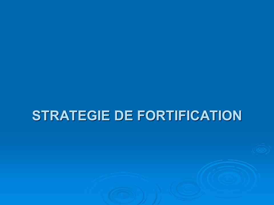 STRATEGIE DE FORTIFICATION