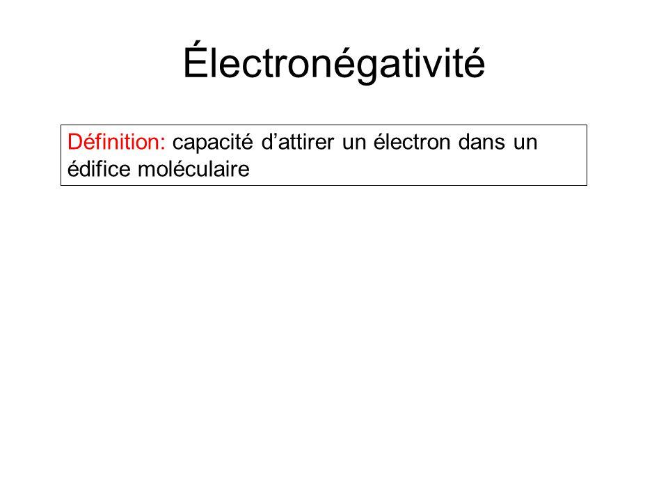 Électronégativité Définition: capacité d'attirer un électron dans un édifice moléculaire