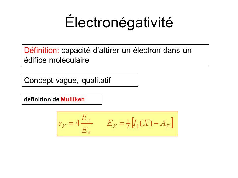 Électronégativité Définition: capacité d'attirer un électron dans un édifice moléculaire. Concept vague, qualitatif.
