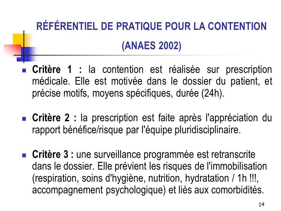 RÉFÉRENTIEL DE PRATIQUE POUR LA CONTENTION (ANAES 2002)