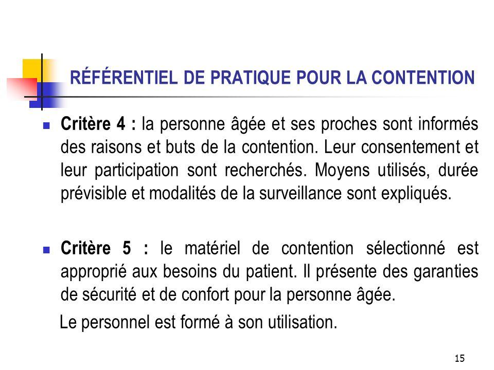 RÉFÉRENTIEL DE PRATIQUE POUR LA CONTENTION