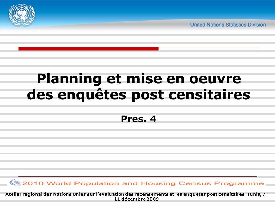 Planning et mise en oeuvre des enquêtes post censitaires Pres. 4