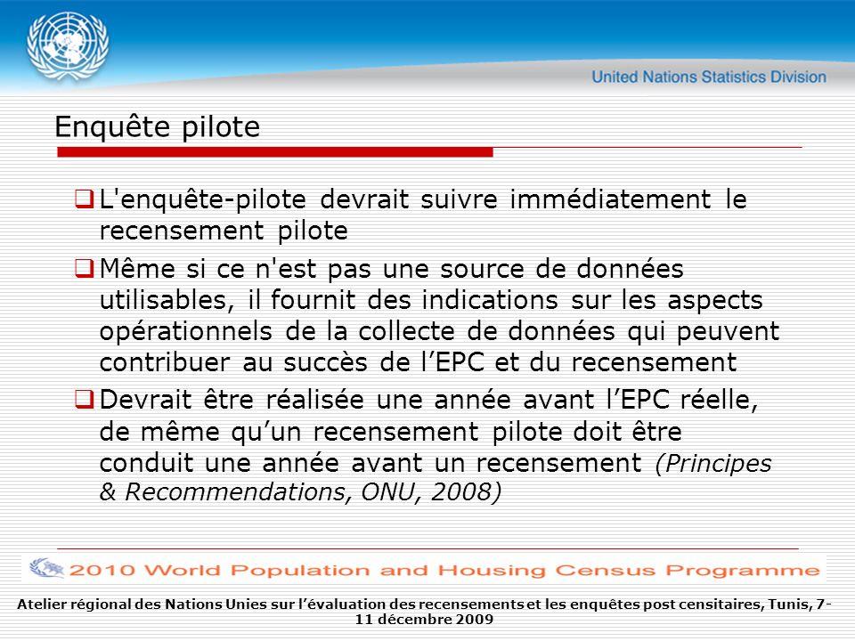 Enquête pilote L enquête-pilote devrait suivre immédiatement le recensement pilote.