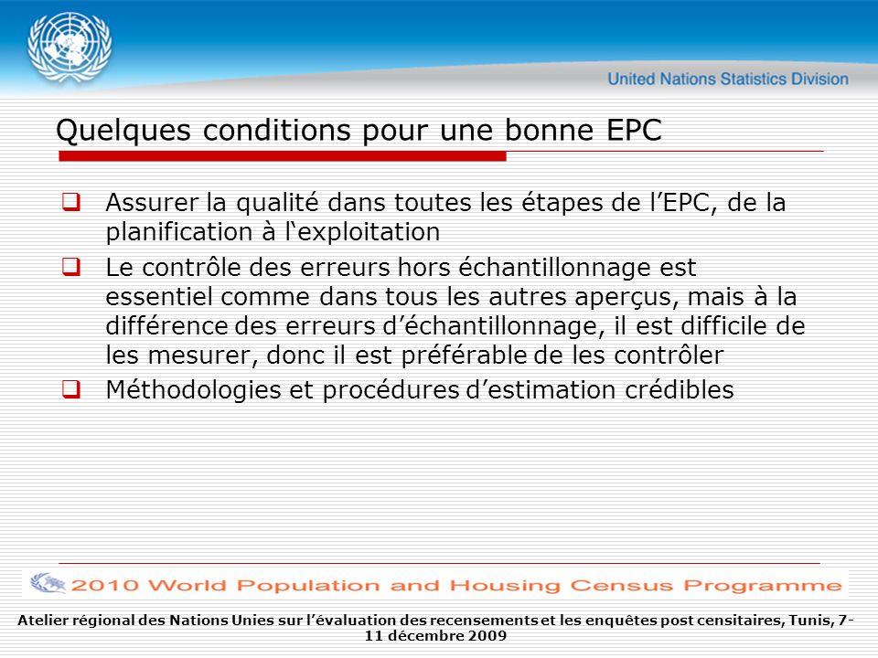 Quelques conditions pour une bonne EPC