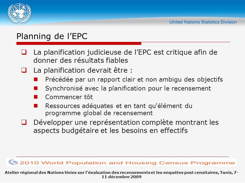 Planning de l'EPC La planification judicieuse de l'EPC est critique afin de donner des résultats fiables.