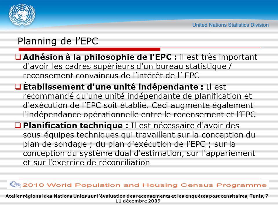 Planning de l'EPC
