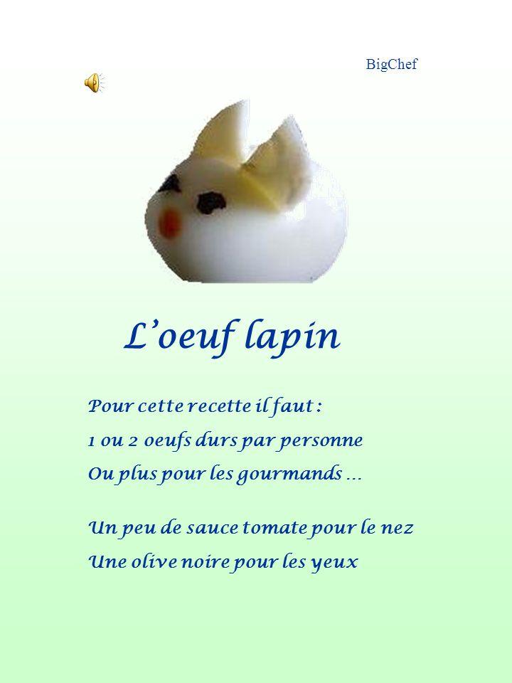 L'oeuf lapin Pour cette recette il faut :