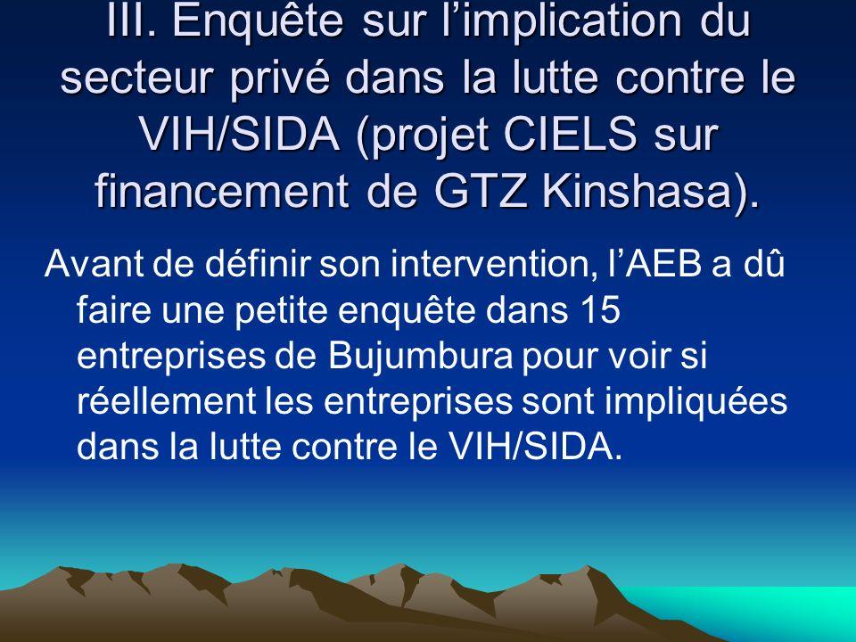 III. Enquête sur l'implication du secteur privé dans la lutte contre le VIH/SIDA (projet CIELS sur financement de GTZ Kinshasa).