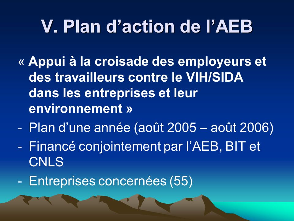 V. Plan d'action de l'AEB