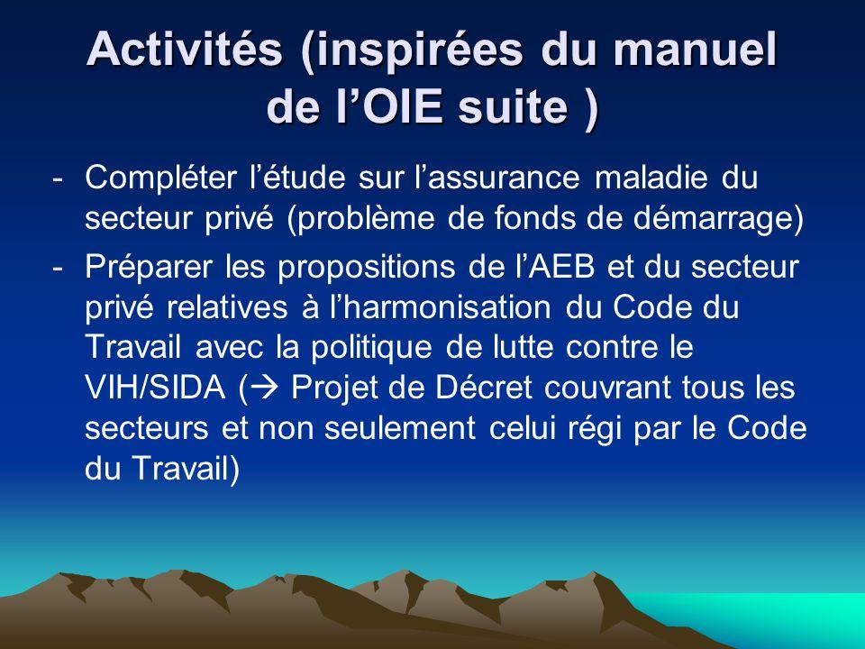 Activités (inspirées du manuel de l'OIE suite )