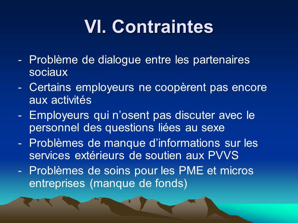 VI. Contraintes Problème de dialogue entre les partenaires sociaux