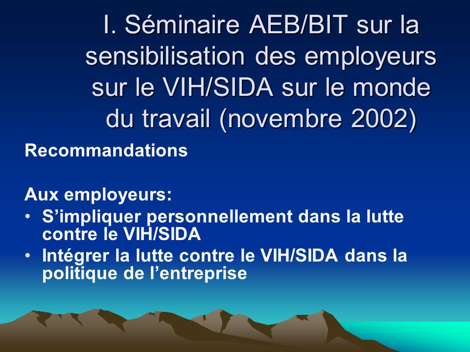 I. Séminaire AEB/BIT sur la sensibilisation des employeurs sur le VIH/SIDA sur le monde du travail (novembre 2002)