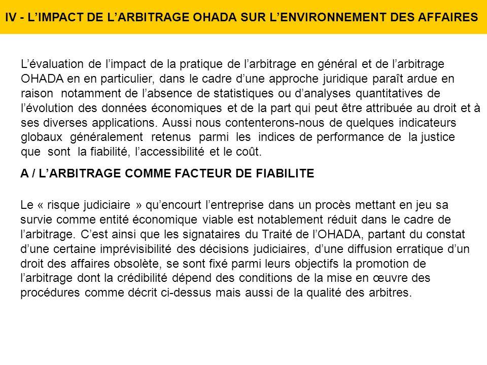 IV - L'IMPACT DE L'ARBITRAGE OHADA SUR L'ENVIRONNEMENT DES AFFAIRES