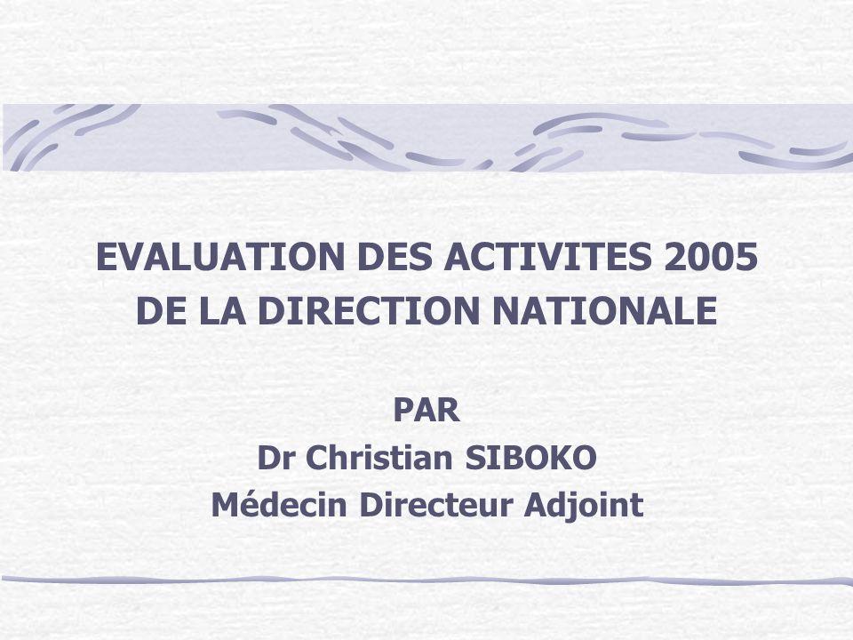 EVALUATION DES ACTIVITES 2005 DE LA DIRECTION NATIONALE