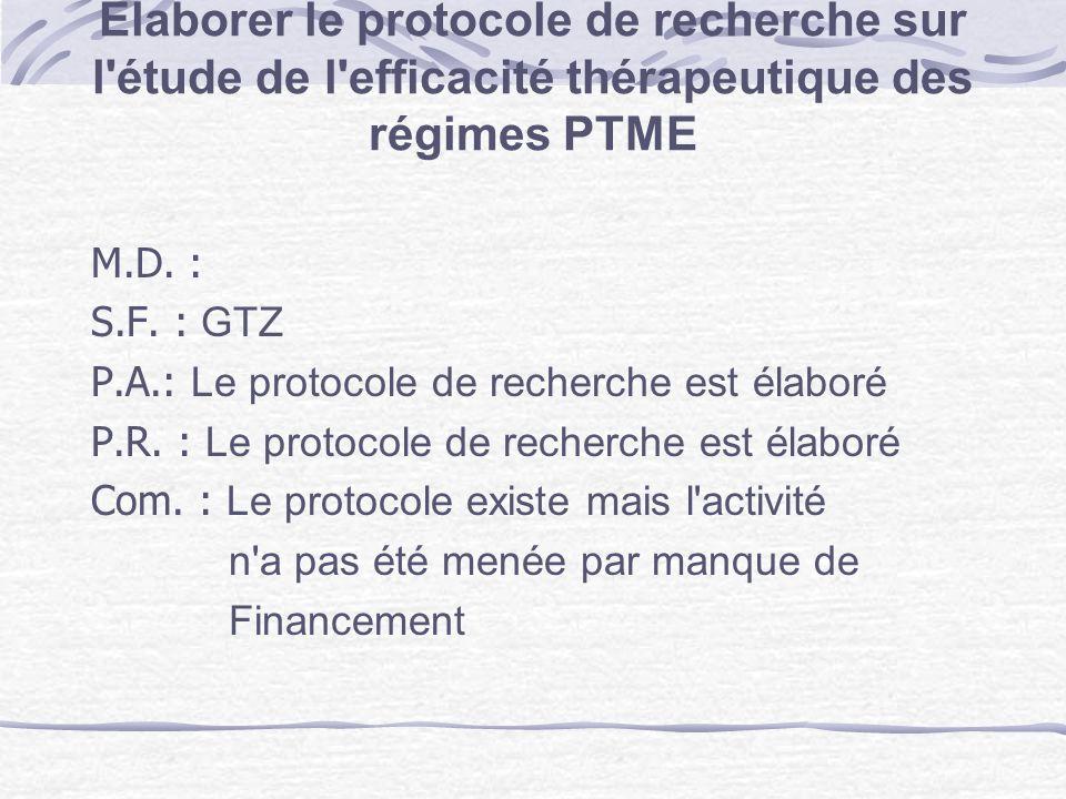 Elaborer le protocole de recherche sur l étude de l efficacité thérapeutique des régimes PTME