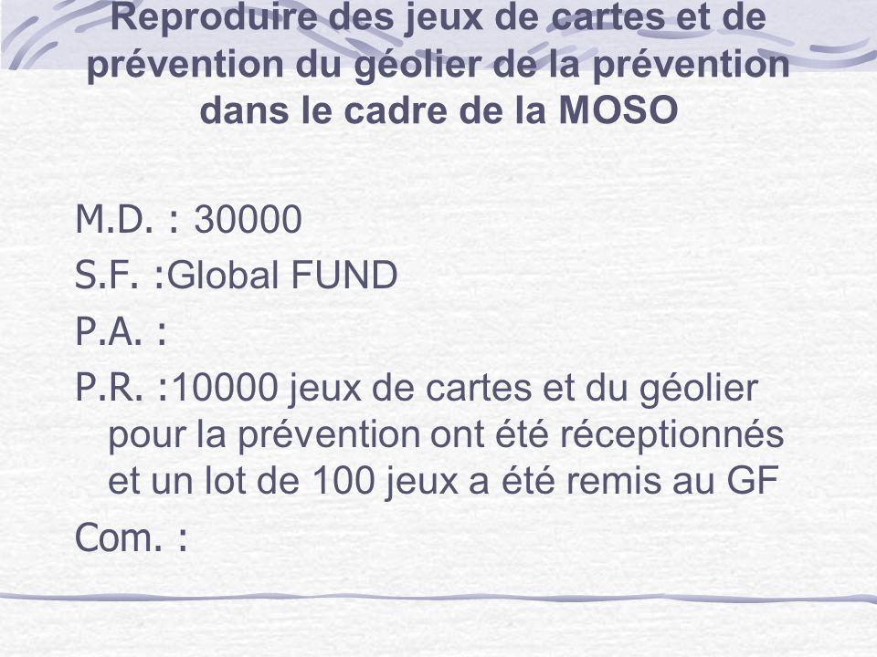 Reproduire des jeux de cartes et de prévention du géolier de la prévention dans le cadre de la MOSO